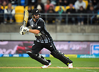 NZ's Colin Munro bats during the international Twenty20 cricket match between NZ Black Caps and India at Westpac Stadium in Wellington, New Zealand on Wednesday, 6 February 2019. Photo: Dave Lintott / lintottphoto.co.nz