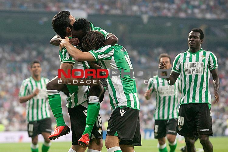 Betis' Juanfran Moreno, Jorge Molina, Cedrick Mabwati, Joan Verdu, Javier Matilla and Nosa Igiebor celebrates goal during La Liga match.August 18,2013. Foto © nph / Acero)