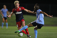 Piscataway, NJ - Saturday July 23, 2016: Joanna Lohman, Taylor Lytle during a regular season National Women's Soccer League (NWSL) match between Sky Blue FC and the Washington Spirit at Yurcak Field.