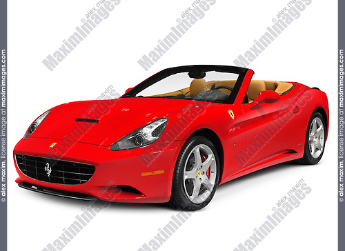 Red Ferrari California grand touring hard top convertible sports car. In production from 2008. Isolated on white background with clipping path.