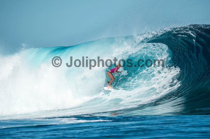 Namotu Island, Fiji (Tuesday, June 2, 2015) Tatiana Weston-Webb (HAW) - Action continued today at the fifth stop on the 2015 WSL Championship Tour (CT), the Fiji Women&rsquo;s Pro, with a day of high drama and high scores. The world&rsquo;s best female surfers posted four nine-point rides as competition ran through Rounds 2 and 3 in solid surf at Cloudbreak. <br />  <br /> Rookie Tatiana Weston-Webb (HAW) was the standout of the day, claiming both the highest heat total and single-wave score, while defending event winner Sally Fitzgibbons (AUS) suffered a perforated eardrum in the heavy conditions but still made it through to the Quarterfinals.<br />  <br /> Weston-Webb (HAW) had an impressive run of form, looking confident and at ease on her forehand in the sizable surf. She started with a convincing victory over Sage Erickson (USA) in Round 2, pulling into the wave of the day for a long, deep tube and earning a near-perfect 9.73 (out of a possible 10). The young Hawaiian went on to face Jeep Leaderboard No. 1 and two-time World Champion Carissa Moore (HAW) and Coco Ho (HAW) in Round 3 where another nine-point ride saw her take the top spot and a place in the Quarterfinals, sending her opponents to Round 4.<br /> <br /> The surf was in the 4'-6' range with light winds for most of the morning. A light onshore came up early afternoon and the swell became inconsistent.   Photo: joliphotos.com
