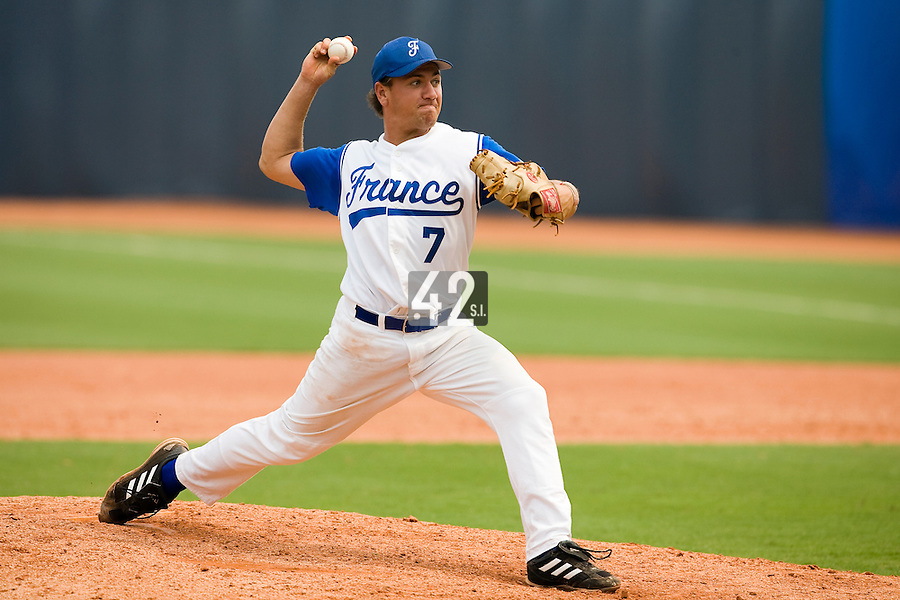 19 August 2007: Pitcher #7 Philippe Lecourieux pitches during the Japan 4-3 victory over France in the Good Luck Beijing International baseball tournament (olympic test event) at the Wukesong Baseball Field in Beijing, China.