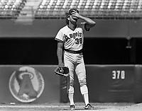 Greg Minton of the California Angels during a 1988 season game at Anaheim Stadium,in Anaheim,California.(Larry Goren/Four Seam Images)