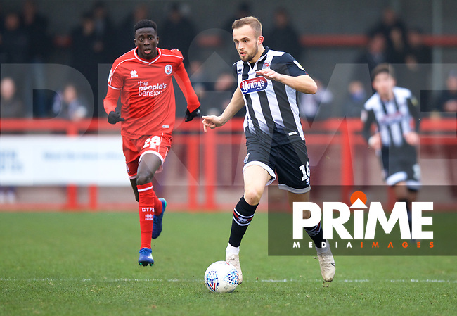Charles Vernam of Grimsby Town during the Sky Bet League 2 match between Crawley Town and Grimsby Town at The People's Pension Stadium, Crawley, England on 25 January 2020. Photo by Alan  Stanford / PRiME Media Images.