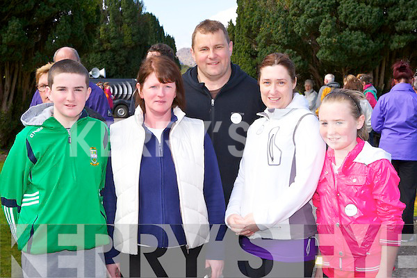 Niall Kennedy, Carmel Kennedy, Colman, Rose and Ciara O'Shea at the Lets Get Kerry Walking walk in Muckross House on Saturday..