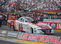 Sep 2, 2018; Clermont, IN, USA; NHRA funny car driver Tommy Johnson Jr during qualifying for the US Nationals at Lucas Oil Raceway. Mandatory Credit: Mark J. Rebilas-USA TODAY Sports
