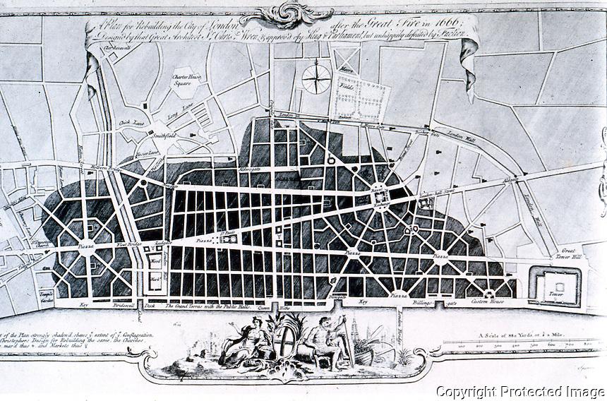 London: Wren's Plan, 1666. REPS, MAKING OF URBAN AMERICA, FIG. 8.  P