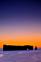 Rocher perc&eacute; (Perc&eacute; Rock)  at dawn and the Atlantic Ocean<br /> Perc&eacute; <br /> Quebec<br /> Canada