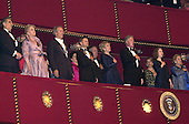 From left to right: Honorees Placido Domingo, Angela Lansbury, Clint Eastwood, and Mikhail Baryshnikov join first lady Hillary Rodham Clinton, United States President Bill Clinton, Chelsea Clinton and U.S. Secretary of State Madeleine Albright in singing the National Anthem at the Kennedy Center Honors at the John F. Kennedy Center in Washington, D.C. on Sunday, December 3, 2000..Credit: Ron Sachs / Pool via CNP