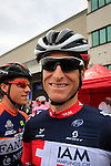 Martin Elmiger (SUI) IAM Cycling at sign on for the start of the 2015 96th Milan-Turin 186km race starting at San Giuliano Milanese, Italy. 1st October 2015.<br /> Picture: Eoin Clarke | Newsfile