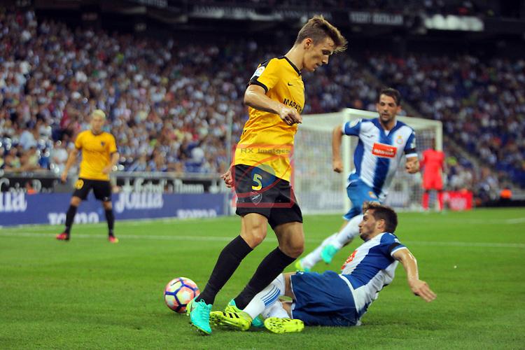 League Santander 2016/2017. Game: 2.<br /> RCD Espanyol vs Malaga CF: 2-2.<br /> Diego Llorente vs Daniel Piatti.