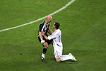 01 July 2006: Willy Sagnol (FRA) (right) and goalkeeper Fabien Barthez (FRA) (left) celebrate the France victory. France defeated Brazil 1-0 at Commerzbank Arena in Frankfurt, Germany in match 60, a Quarterfinal game of the 2006 FIFA World Cup.