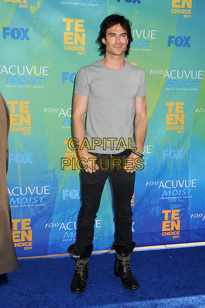 Ian Somerhalder.2011 Teen Choice Awards - Arrivals held at Gibson Amphitheatre, , Universal City, California, USA..August 7th, 2011.full length black jeans denim boots t-shirt side grey gray .CAP/ADM/BP.©Byron Purvis/AdMedia/Capital Pictures.