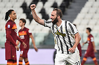 Gonzalo Higuain of Juventus celebrates after scoring a goal during the Serie A football match between Juventus FC and AS Roma at Juventus stadium in Turin (Italy), August 1st, 2020. Play resumes behind closed doors following the outbreak of the coronavirus disease. Photo Andrea Staccioli / Insidefoto