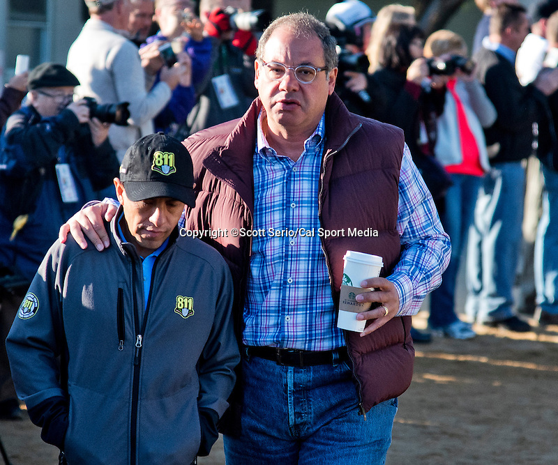 April 28, 2015: Owner Ahmed Zayat and jockey Victor Espinoza head to the track to watch American Pharoah exercise in preparation for the 141st Kentucky Derby at Churchill Downs in Louisville, Kentucky. Scott Serio/CSM