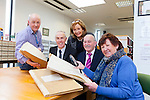 LOOK BACK : Denis Walshe and fellow former pupils of Ballyroe N.S., Tralee pictured with the old Roll Books dating back to 19th Century and 20th Century which were handed over to the Local History and Archives section of Kerry Library on Friday, . Pictured were: Michael Lynch, Tommy O'Connor, Denis Walshe, Marie McSwiney, Margaret Murphy Chairperson of Ballyroe NS Reunion Committee.