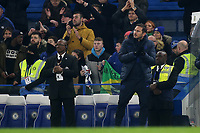 Chelsea Manager, Frank Lampard applauds John Terry as he walks to the Centre Circle at the end of the match to wave to the Chelsea fans during Chelsea vs Aston Villa, Premier League Football at Stamford Bridge on 4th December 2019