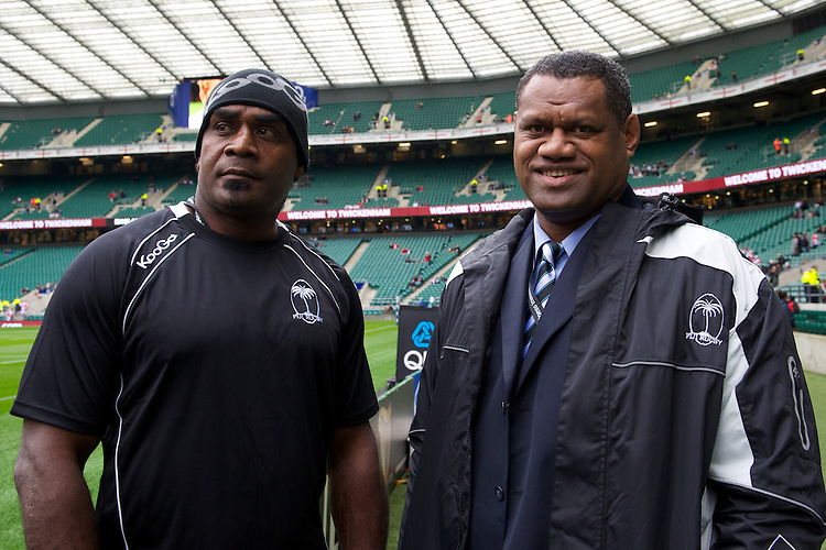 Fiji Assistant Coaches (L-R) Bill Satala and Alivereti Mocelutu before the QBE International between England and Fiji at Twickenham on Saturday 10th November 2012 (Photo by Rob Munro)