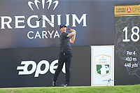 Thorbjorn Olesen (DEN) tees off the 18th tee during Saturday's Round 3 of the 2018 Turkish Airlines Open hosted by Regnum Carya Golf &amp; Spa Resort, Antalya, Turkey. 3rd November 2018.<br /> Picture: Eoin Clarke | Golffile<br /> <br /> <br /> All photos usage must carry mandatory copyright credit (&copy; Golffile | Eoin Clarke)