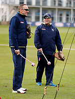 Allan Donald (L) discusses tactics with Matt Walker during the friendly game between Kent CCC and Surrey at the St Lawrence Ground, Canterbury, on Friday Apr 6, 2018
