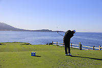Shane Lowry (IRL) tees off the par3 7th tee during Sunday's Final Round of the 2018 AT&amp;T Pebble Beach Pro-Am, held on Pebble Beach Golf Course, Monterey,  California, USA. 11th February 2018.<br /> Picture: Eoin Clarke | Golffile<br /> <br /> <br /> All photos usage must carry mandatory copyright credit (&copy; Golffile | Eoin Clarke)