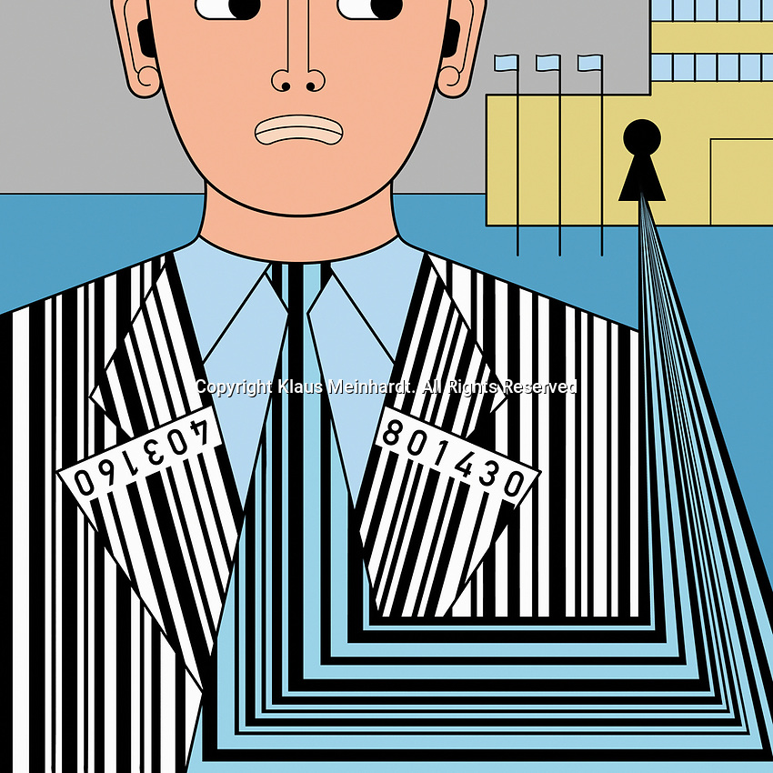 Building collecting barcode data from anxious man