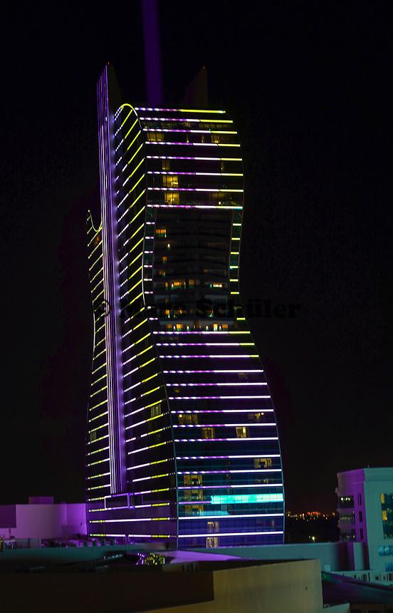 Lichter am Gitarren-Hotel des Hard Rock Hotels - 24.01.2020: Hard Rock Hotel & Casino, Hollywood, FL
