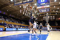 DURHAM, NC - NOVEMBER 29: Kendall Grasela #11 of the University of Pennsylvania shoots a layup during a game between Penn and Duke at Cameron Indoor Stadium on November 29, 2019 in Durham, North Carolina.