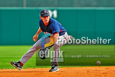 14 March 2009: Boston Red Sox' infielder Jed Lowrie takes infield practice prior to a Spring Training game against the Baltimore Orioles at Fort Lauderdale Stadium in Fort Lauderdale, Florida. The Orioles defeated the Red Sox 9-8 in the Grapefruit League matchup. Mandatory Photo Credit: Ed Wolfstein Photo