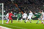 11.02.2018, Weserstadion, Bremen, GER, 1.FBL, SV Werder Bremen vs Vfl Wolfsburg<br /> <br /> im Bild<br /> Ludwig Augustinsson (Werder Bremen #5) trifft per Kopfball zum 1:0, Koen Casteels (VfL Wolfsburg #01), <br /> <br /> Foto &copy; nordphoto / Ewert