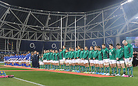 9th November 2013; A moments silence is observed for former Samoan rugby player, Peter Fatialofa, who died earlier this week. Autumn International Series, Ireland v Samoa, Aviva Stadium, Dublin. Picture credit: Tommy Grealy/actionshots.ie.