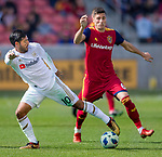 Los Angeles FC forward Carlos Vela (10) steals the ball from Real Salt Lake midfielder Damir Kreilach (6) in the first half Saturday, March 10, 2018, during the Major League Soccer game at Rio Tiinto Stadium in Sandy, Utah. LAFC beat RSL 5-1. (© 2018 Douglas C. Pizac)