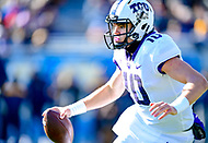 Morgantown, WV - NOV 10, 2018: TCU Horned Frogs quarterback Michael Collins (10) runs the football and picks up a first down during first half action of game between West Virginia and TCU at Mountaineer Field at Milan Puskar Stadium Morgantown, West Virginia. (Photo by Phil Peters/Media Images International)