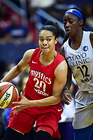 Washington, DC - May 27, 2018: Washington Mystics guard Kristi Toliver (20) drives to the basket against Minnesota Lynx guard Alexis Jones (12) during game between the Mystics and Lynx at the Capital One Arena in Washington, DC. (Photo by Phil Peters/Media Images International)