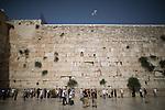 © Joel Goodman - 07973 332324 . 05/06/2016 . Jerusalem , Israel . People pray at the Western or Wailing Wall . Israeli Jews celebrate Jerusalem Day . Photo credit : Joel Goodman