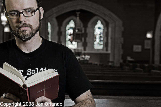 James Redden was a journalist for the Army and served in Kuwait and Iraq.  He finds series contradictions between the teachings of the bible and the religios rhetoric being used in justifying the war in Iraq.  This is from a portrait series I am doing on Iraq War veterans who are resisting the war.