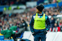 Jordan Ayew warms up during the Premier League match between Swansea City and Leicester City at The Liberty Stadium, Swansea, Wales, UK. Sunday 12 February 2017