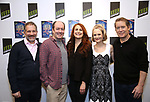 """Jonathan Silverstein, Jodie Markell, Liam Craig, Barbara Garrick, and Laurence Lau attends the cast Photocall for the Keen Company's Production Of A.R. Gurney's """"Later Life"""" on February 9, 2018 at the Art/NY Bruce Mitchell Studio in New York City."""