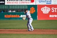 Visalia Rawhide shortstop Jancarlos Cintron (3) during a California League game against the San Jose Giants on April 13, 2019 at San Jose Municipal Stadium in San Jose, California. Visalia defeated San Jose 4-2. (Zachary Lucy/Four Seam Images)