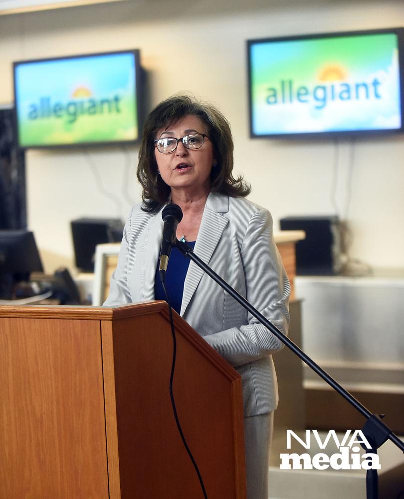 NWA Democrat-Gazette/FLIP PUTTHOFF <br /> Kelly Johnson, airport director, announces Tuesday Aug. 13 2019 new flights from Northwest Arkansas Regional Airport.