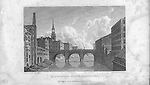 Nineteenth century engraving from 1829, Blackfriars Bridge, Manchester, England, UK drawn by W. Westall