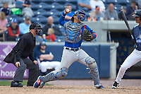 South Bend Cubs catcher Miguel Amaya (9) makes a throw to second base against the West Michigan Whitecaps at Fifth Third Ballpark on June 10, 2018 in Comstock Park, Michigan. The Cubs defeated the Whitecaps 5-4.  (Brian Westerholt/Four Seam Images)