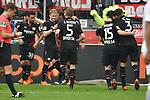 14.04.2018, BayArena, Leverkusen , GER, 1.FBL., Bayer 04 Leverkusen vs. Eintracht Frankfurt<br /> im Bild / picture shows: <br /> die Leverkusener bejubeln ihren Treffer zum 3:1 Karim Bellarabi (Leverkusen #38), Julian Brandt (Leverkusen #10), Sven Bender (Leverkusen #5), Julian Baumgartlinger (Leverkusen #15), Panagiotis Retsos (Leverkusen #3),  <br /> <br /> <br /> Foto &copy; nordphoto / Meuter