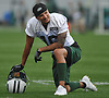 Myles White #16 takes a knee during New York Jets Training Camp at the Atlantic Health Jets Training Center in Florham Park, NJ on Thursday, Aug. 10, 2017.