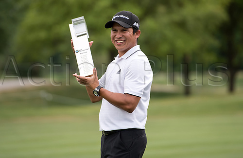 25th June 2017, Golf, Moosinning, Germany;  Argentinian  Andres Romero celebrates with the trophy after the men's singles 4th round at the International Open European Tour in Moosinning, Germany, 25 June 2017.