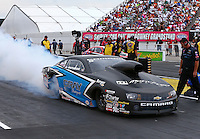 Aug 30, 2014; Clermont, IN, USA; NHRA pro stock driver Jonathan Gray during qualifying for the US Nationals at Lucas Oil Raceway. Mandatory Credit: Mark J. Rebilas-USA TODAY Sports