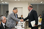 (L-R) Yoshiro Mori, Antonio Espinos, AUGUST 7, 2015 : The Tokyo 2020 Organising Committee interviews members of the World Karate Federation (WKF), as it considers new events for inclusion in the 2020 Tokyo Olympic Games, Tokyo, Japan. (Photo by Uta MUKUO/Tokyo2020/AFLO)