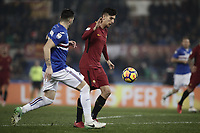 Calcio, Serie A: AS Roma - Sampdoria, Roma, stadio Olimpico, 28 gennaio 2018.<br /> Roma's Lorenzo Pellegrini (r) in action with Sampdoria's Nicola Murru (l) during the Italian Serie A football match between AS Roma and Sampdoria at Rome's Olympic stadium, January 28, 2018.<br /> UPDATE IMAGES PRESS/Isabella Bonotto