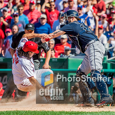 9 July 2017: Washington Nationals third baseman Anthony Rendon slides home safely to score Washington's 7th run in the 7th inning against the Atlanta Braves at Nationals Park in Washington, DC. The Nationals defeated the Atlanta Braves to split their 4-game series going into the All-Star break. Mandatory Credit: Ed Wolfstein Photo *** RAW (NEF) Image File Available ***