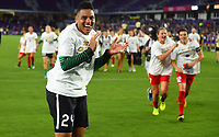 Orlando, FL - Saturday October 14, 2017:  Adrianna Franch celebrates during the NWSL Championship match between the North Carolina Courage and the Portland Thorns FC at Orlando City Stadium.